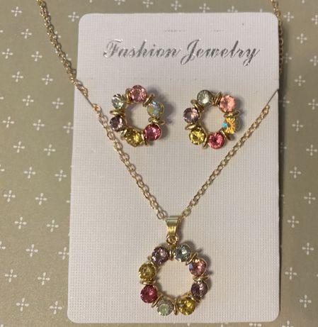 Komplet biżuterii złoty naszyjnik z zawieszką i kolczyki