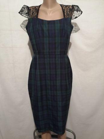 Нарядное вечернее платье в клетку с кружевом паетками L-XL
