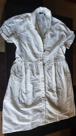 Vestido em óptimo estado branco e em bordado Inglês