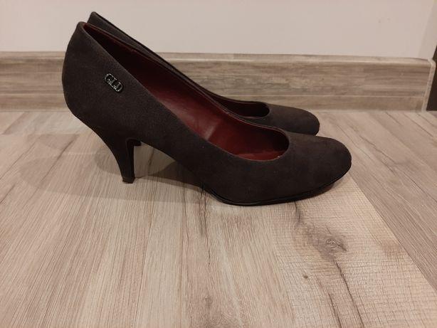 Buty czółenka szpilki czarne szare grafit Deichmann Graceland 41