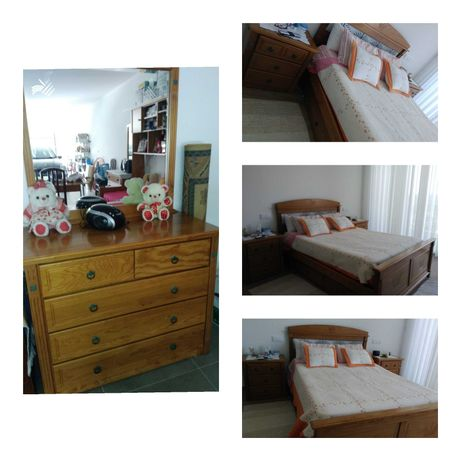 1 cama de casal, 2 mesinhas de cabeceira e 1 cómoda