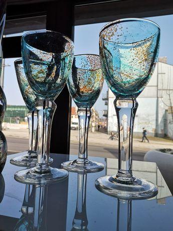 Kieliszki kielichy szkło vintage ręcznie formowane masywne 4 sztuki