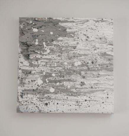 Obraz akrylowy abstrakcyjny - szaro-biały - 50x50