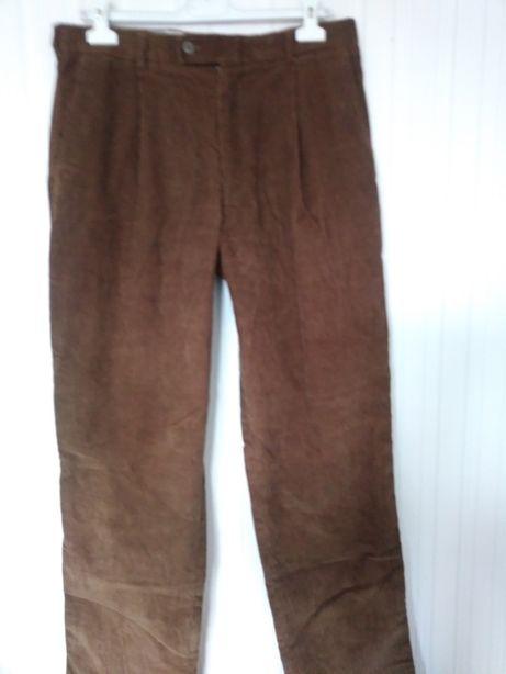 Nowe męskie spodnie długie brąz kieszenie sztruks modne bawełna suwak