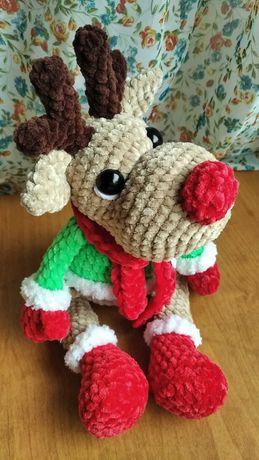 Вязаные игрушки плюшевый новогодний олень подарок новый год