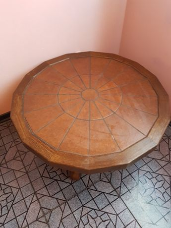 Stół / stoliczek dąb i terakota