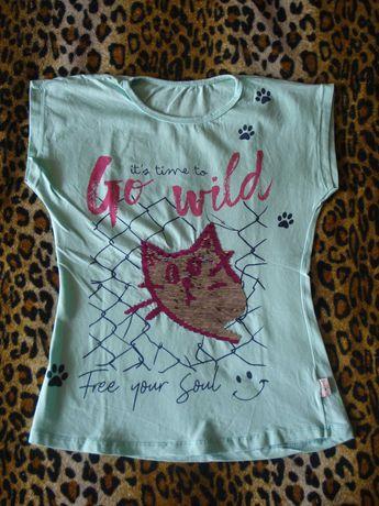 Новая футболка для девочки, р. 140-146