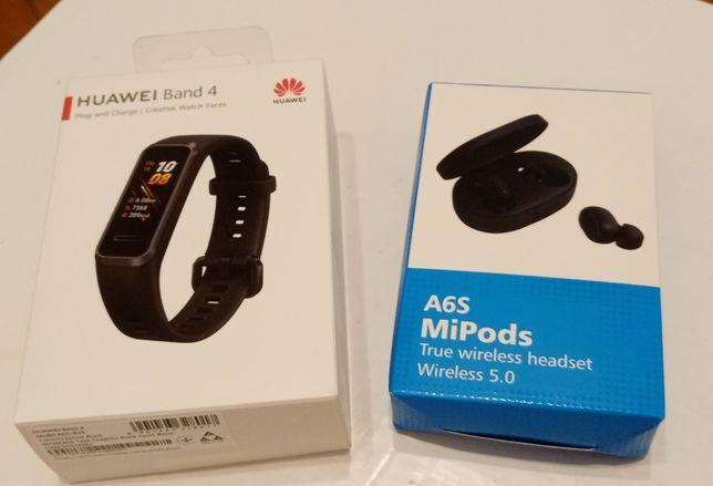 Opaska Huawei Band 4 + Słuchawki bezprzewodowe A6S z powerbankiem