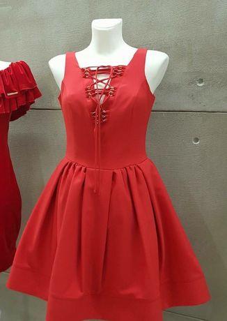 Sukienka malinowa czerwień 38 M
