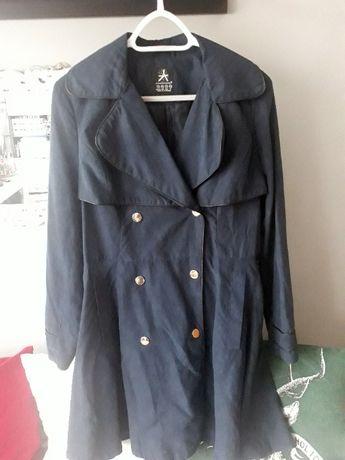 granatowy płaszczyk trencz płaszcz guziki Atomosphere L, XL taliowany