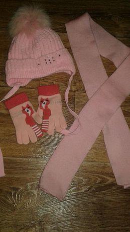 Комплект /шапка, шарф,перчатки для девочки