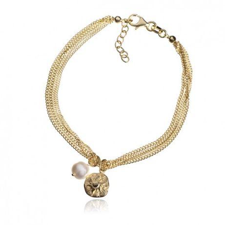 Bransoletka srebrna pozłacana Słońce Toskani z perłą