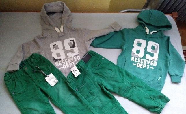 NOWE r.98 cm 2x bluza RESERVED,2 spodnie C&A sztruksy,bluzy,zestaw