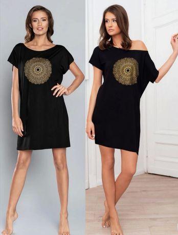 Koszula nocna Wiskoza czarna Mandala Italian Fashion M