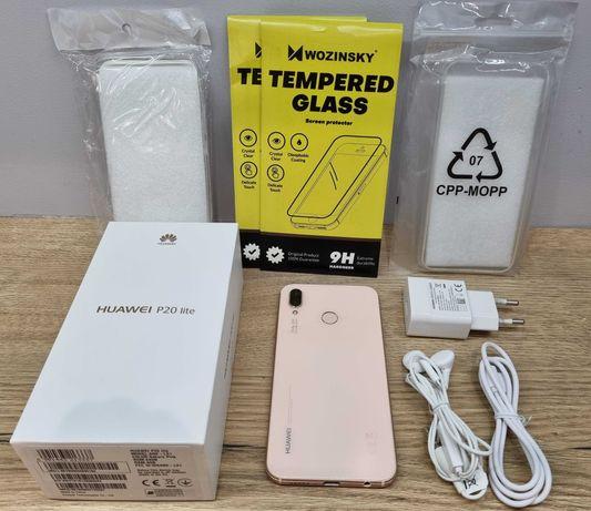 Huawei P20 Lite 64GB Różowy, Pełny zestaw + 2x szkło i 2x etui