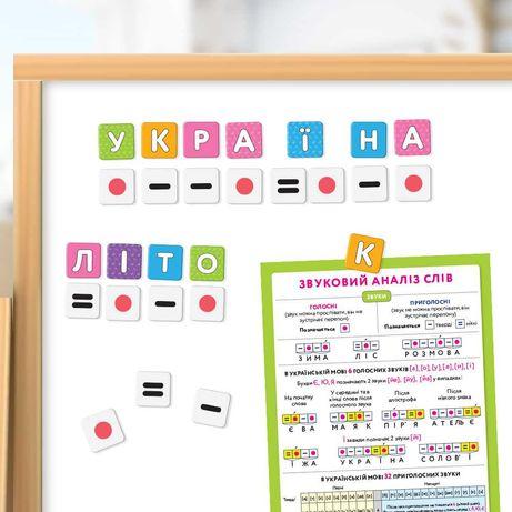Алфавит на магнитах «От А до Я» 250 шт. Магнитная азбука детская