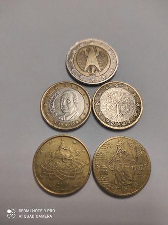 євро, монети 5 шт, хороший стан