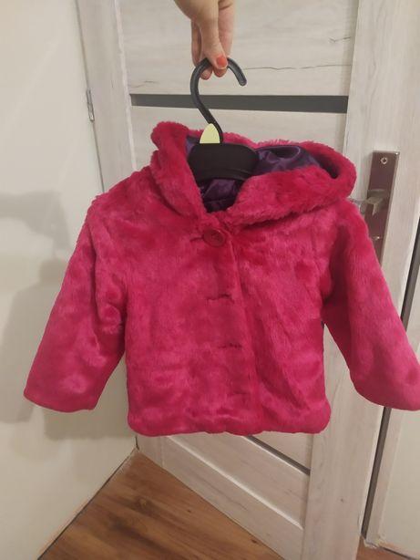 Futerko z kapturem kurtka kurteczka plaszczyk rozowe sliczne 80 86