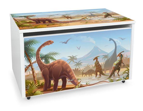 Duża drewniana skrzynia na zabawki XXL na kółkach Motyw: Jurassic