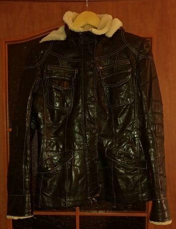 Куртка зимняя кожаная на меху женская