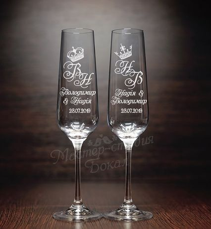 Свадебные бокалы с гравировкой.