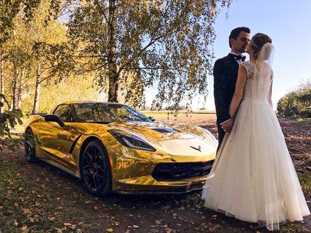 ZŁOTY Samochod do ślubu Corvetta Camaro Porsche Mustang Maserati Audi