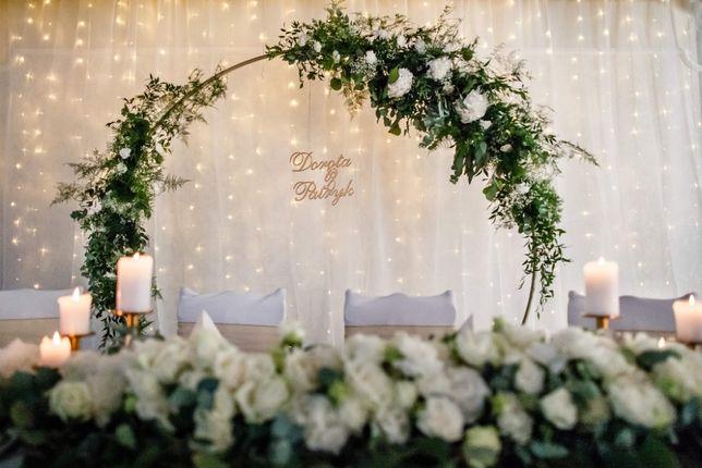 Ścianka ślubna, na panieński, metalowe koło z kwiatami