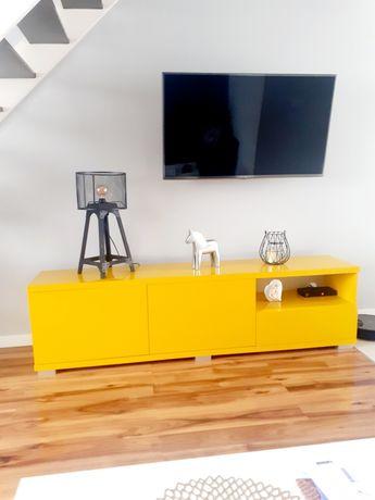Komoda nowoczesna loft lakierowana ,żółta, musztardowa szafka RTV.