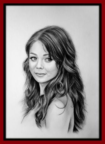 Portret ze zdjęcia ołówkiem rysunek A4 A3 napis idealny prezent