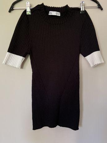 Bluzka z dzianiny prążkowanej Zara
