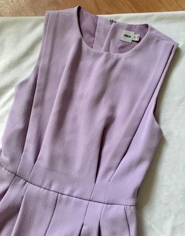 Ромпер комбинезон с шортами костюмный сиреневый голая спина
