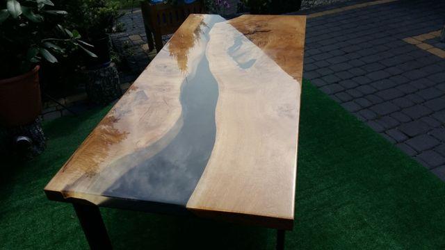 stół ława blat żywica epoksydowa dąb, river table 240x95cm