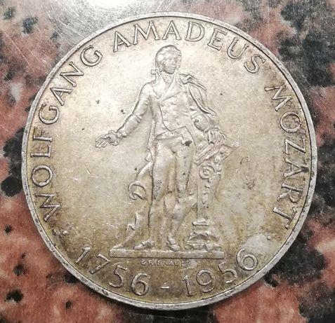 Austria 25 Schilling 200 lat MOZART srebro 0.800 25 szylingów 1956
