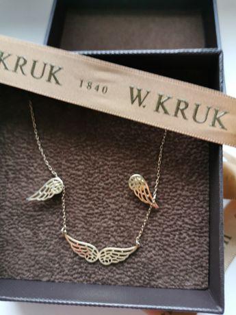W. Kruk komplet skrzydła srebro, złocone.