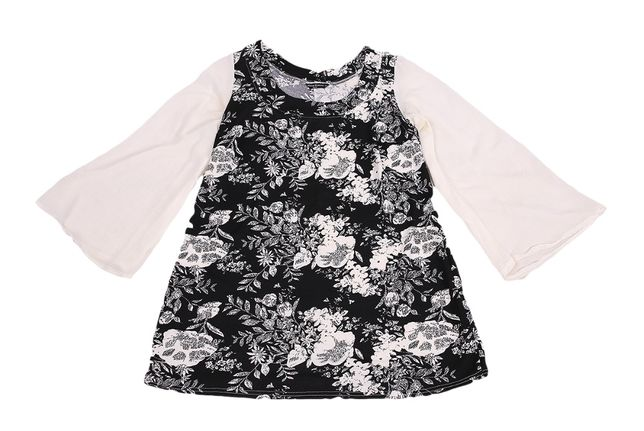 Czarno biała sukienka w kwiaty z szyfonowym rękawem 44 46