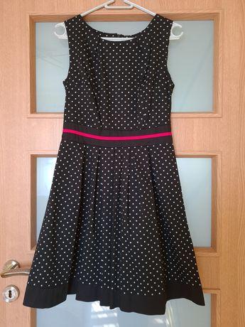 Śliczna czarna sukienka w groszki S/M
