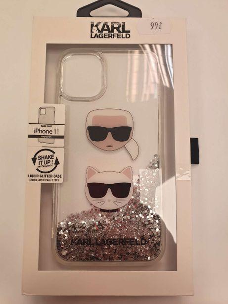 Etui KARL LAGERFELD iPhone 11 Liquid Glitter Hearts KLHCN61KCGLSL