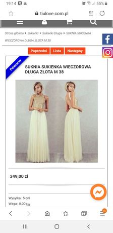 Elegancka suknia ze złotymi cekinami