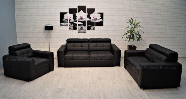 Zestaw Sof 3-2-1 Skóra naturalna, Sofa skórzana, funkcja spania, fotel