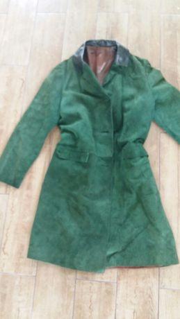 Płaszcz skóra ircha butelkowa zieleń
