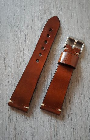 Skórzany pasek zegarka brąz 18-22mm
