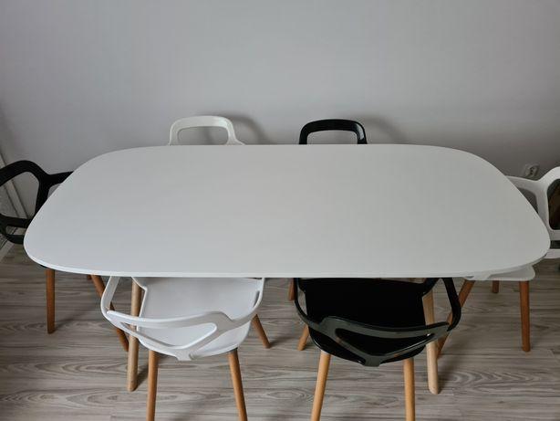 Biały Nowoczesny stół jadalniany Drewniane nogi 190cmx90cm