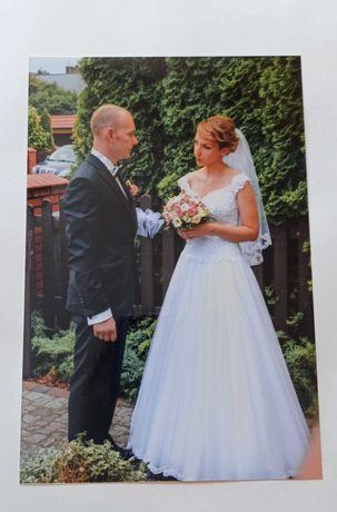 Suknia ślubna koronka biała tiul