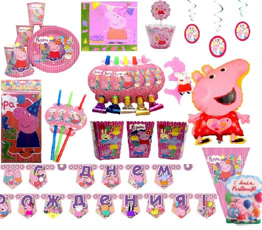 """Декор """"Свинка Пеппа"""" набор (кенди бар, капкейки, гирлянда, шары)"""