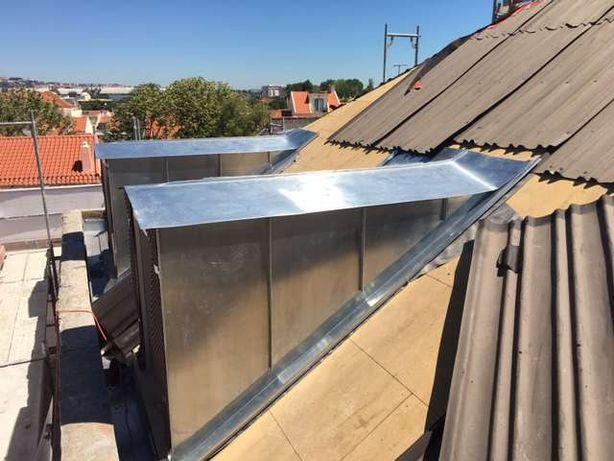 Obra telhado feito em zinco