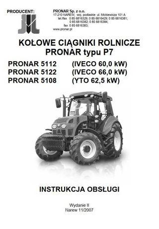 Instrukcja obsługi ciągnika Pronar 5112, 5122, 5108, PL