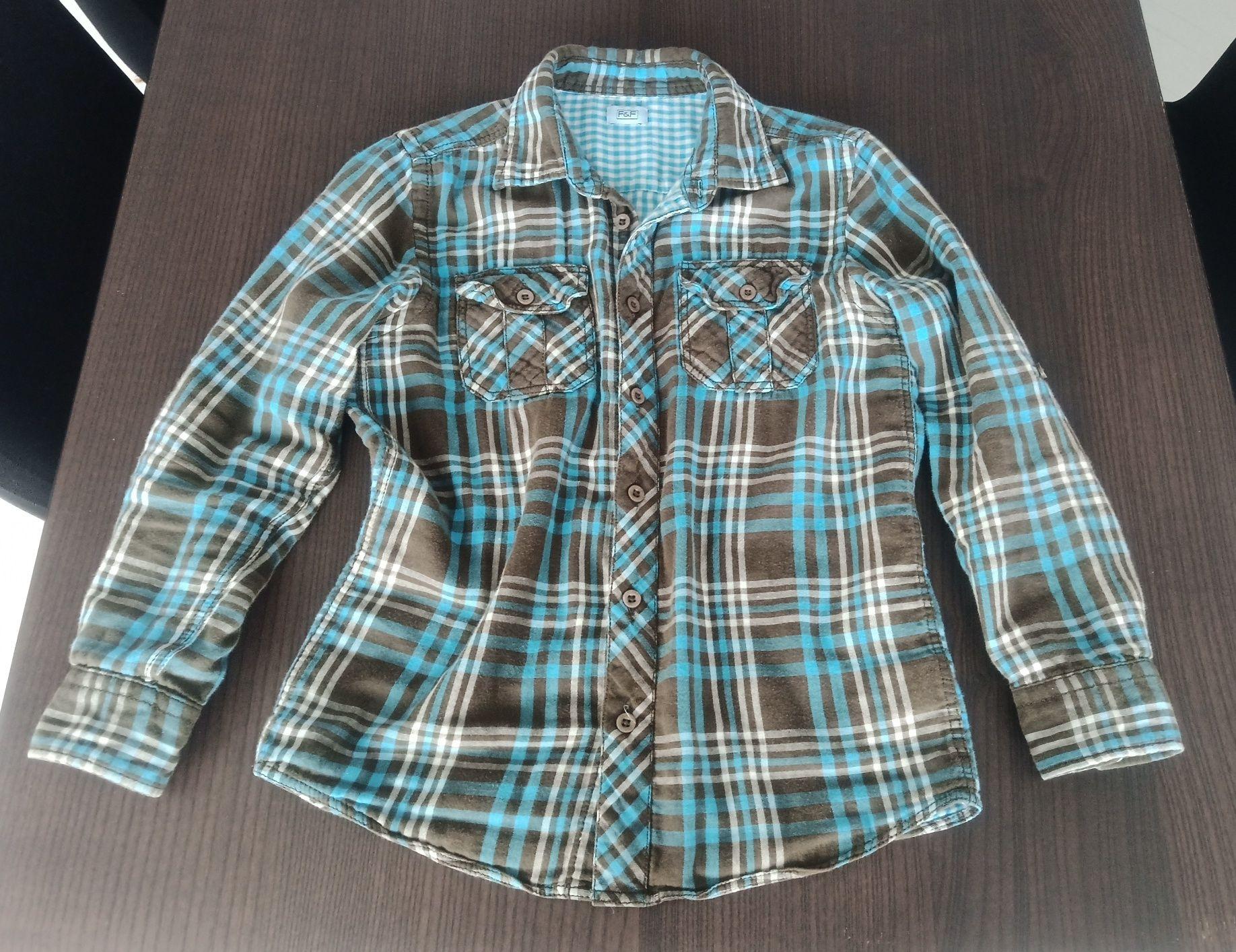 Koszula F&F chłopięca bawełniana w kratkę sportowa r. 140