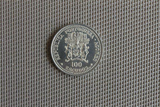 Moeda comemorativa 100$00 níquel 1986 10.º Aniv. Aut. Açores BELA/SOB