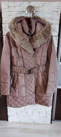 Zimowy płaszcz z kapturem beżowy M
