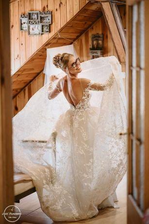 wyjątkowa suknia z welonem, długi rękaw, z trenem, Milla Nova